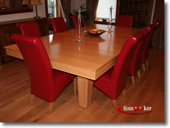 7 foot x 3.5 foot Elegance  Snooker Dining Table in Oak with Red cloth fitted