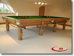12 foot x 6 foot Century snooker table in Oak with Olive Green cloth fitted