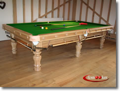 10 foot x 5 foot Majestic Snooker Table in Oak with Olive Green cloth fitted