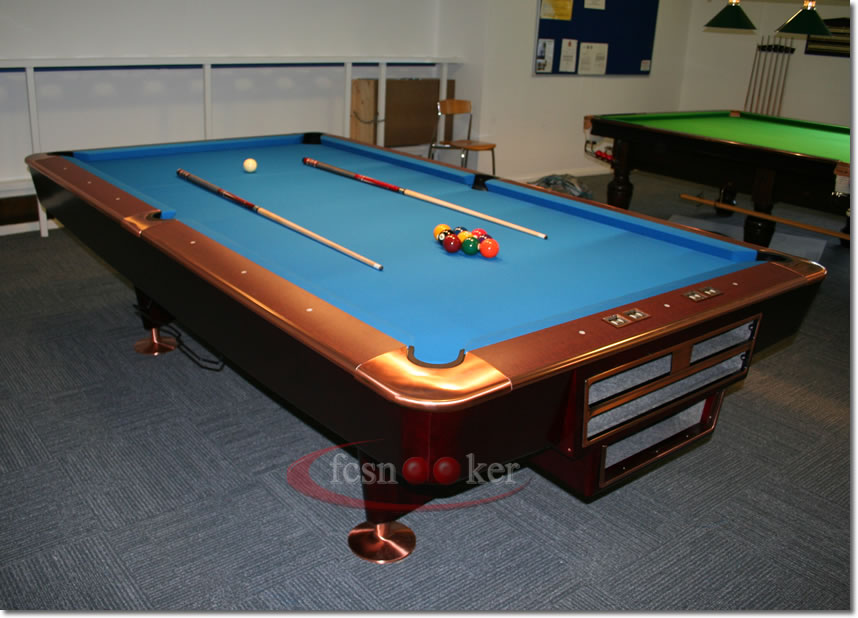 Welcome to fcsnooker Newly manufactured slate bed  : 9x45footclassicamericanpoolbrownblue850dslogo2 from fcsnooker.co.uk size 858 x 618 jpeg 88kB